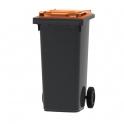 Mini-container 120 liter donkergrijs met gekleurd deksel