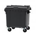 Grijze container 1100 ltr split deksel
