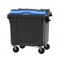 Grijze container 1100 ltr met blauw split deksel