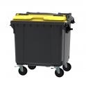 Grijze container 1100 ltr met geel split deksel