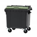 Grijze container 1100 ltr met groen split deksel