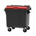 Grijze container 1100 ltr met rood split deksel