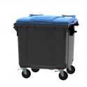Grijze container 1100 ltr met vlak blauw deksel