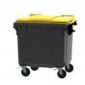 Grijze container 1100 ltr met vlak geel deksel