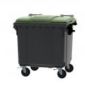 Grijze container 1100 ltr met vlak groen deksel