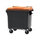 Grijze container 1100 ltr met vlak oranje deksel