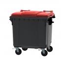 Grijze container 1100 ltr met vlak rood deksel