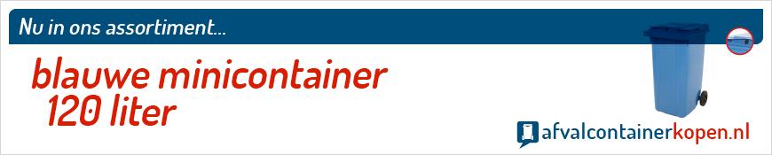 Blauwe minicontainer 120 liter voor langdurig en intensief gebruik, eenvoudig online te bestellen bij Afvalcontainerkopen.nl.