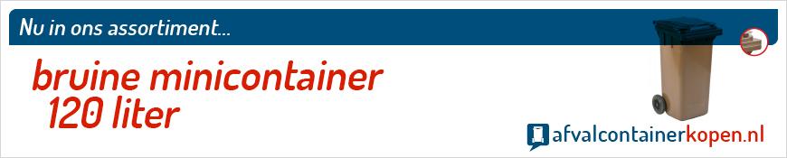 Bruine minicontainer 120 liter voor langdurig en intensief gebruik, eenvoudig online te bestellen bij Afvalcontainerkopen.nl.