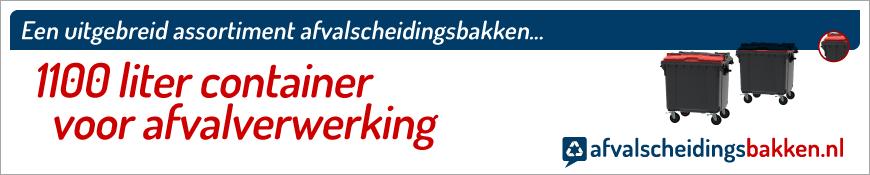 Container kopen met dubbele opening of rood split deksel 1100 liter  voor langdurig en intensief gebruik, eenvoudig online te bestellen bij Afvalcontainerkopen.nl.