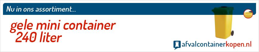 Gele mini container 240 liter voor langdurig en intensief gebruik, eenvoudig online te bestellen bij Afvalcontainerkopen.nl.