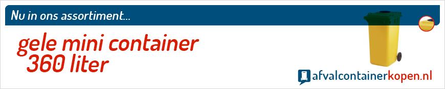 Gele mini container 360 liter voor langdurig en intensief gebruik, eenvoudig online te bestellen bij Afvalcontainerkopen.nl.