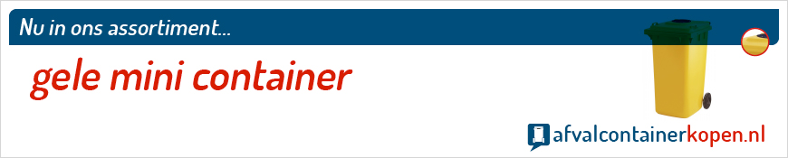 Gele mini container voor langdurig en intensief gebruik, eenvoudig online te bestellen bij Afvalcontainerkopen.nl.