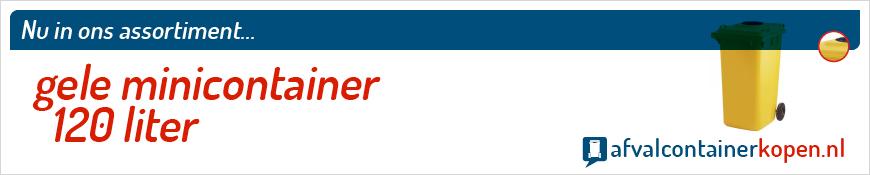Gele minicontainer 120 liter voor langdurig en intensief gebruik, eenvoudig online te bestellen bij Afvalcontainerkopen.nl.