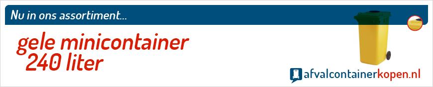 Gele minicontainer 240 liter voor langdurig en intensief gebruik, eenvoudig online te bestellen bij Afvalcontainerkopen.nl.