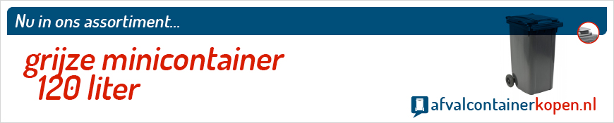 Grijze minicontainer 120 liter voor langdurig en intensief gebruik, eenvoudig online te bestellen bij Afvalcontainerkopen.nl.