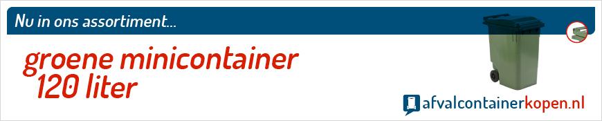 Groene minicontainer 120 liter voor langdurig en intensief gebruik, eenvoudig online te bestellen bij Afvalcontainerkopen.nl.