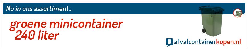 Groene minicontainer 240 liter voor langdurig en intensief gebruik, eenvoudig online te bestellen bij Afvalcontainerkopen.nl.