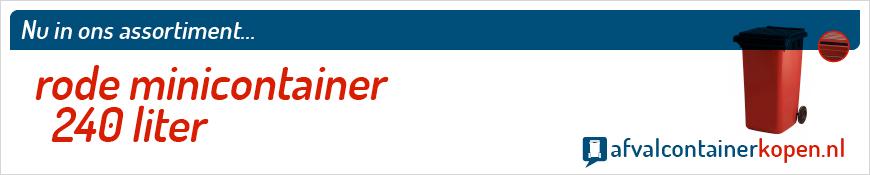 Rode minicontainer 240 liter voor langdurig en intensief gebruik, eenvoudig online te bestellen bij Afvalcontainerkopen.nl.
