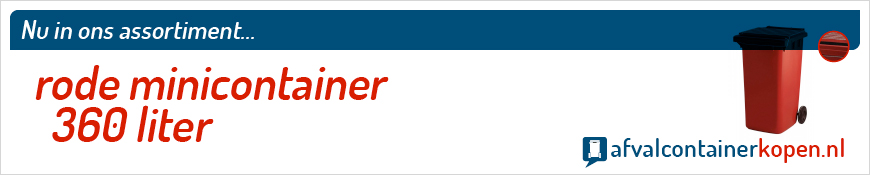 Rode minicontainer 360 liter voor langdurig en intensief gebruik, eenvoudig online te bestellen bij Afvalcontainerkopen.nl.