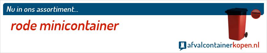 Rode minicontainer voor langdurig en intensief gebruik, eenvoudig online te bestellen bij Afvalcontainerkopen.nl.